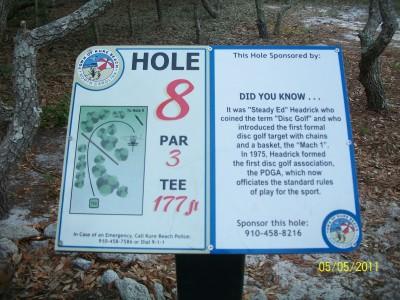 Joe Eakes Park, Main course, Hole 8 Hole sign