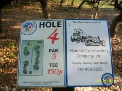 Joe Eakes Park, Main course, Hole 4 Hole sign