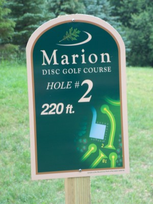Marion Township Hall, Main course, Hole 2 Hole sign