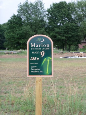 Marion Township Hall, Main course, Hole 9 Hole sign