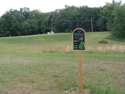 Marion Township Hall, Main course, Hole 18 Hole sign