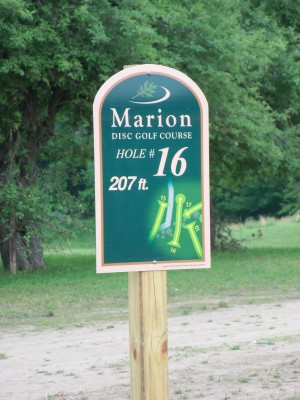 Marion Township Hall, Main course, Hole 16 Hole sign