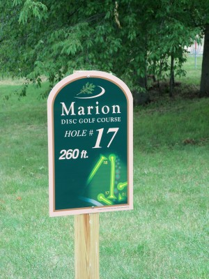 Marion Township Hall, Main course, Hole 17 Hole sign