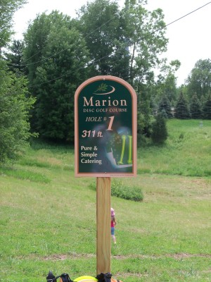 Marion Township Hall, Main course, Hole 1 Hole sign
