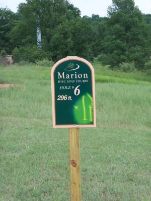 Marion Township Hall, Main course, Hole 6 Hole sign