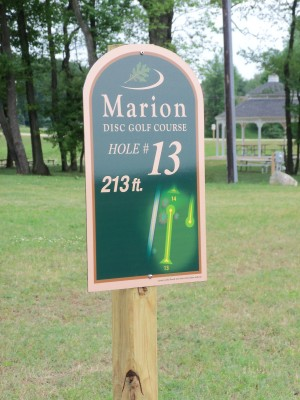 Marion Township Hall, Main course, Hole 13 Hole sign