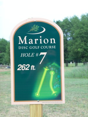 Marion Township Hall, Main course, Hole 7 Hole sign