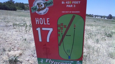 Jellystone Camp and Resort, Main course, Hole 17 Hole sign