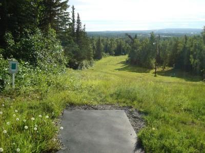 Hilltop DGC, Main course, Hole 13 Tee pad