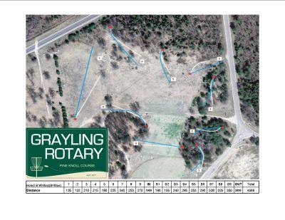 Hanson Hills Recreation Area, Grayling Rotary Pine Knoll DGC, Hole 1 Hole sign