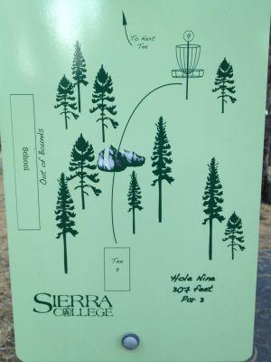 Sierra College, Main course, Hole 9 Hole sign