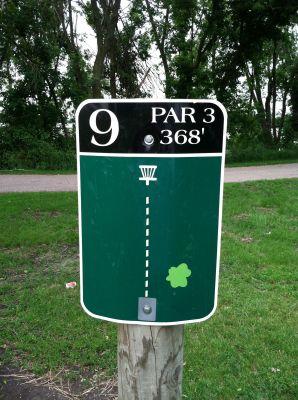 Olson Park, Sunset Bay DGC, Hole 9 Hole sign