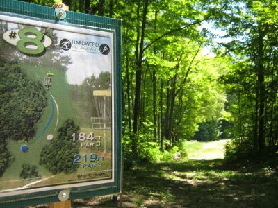 Harwood Ski & Bike, Main course, Hole 8 Hole sign