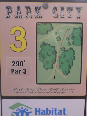 Veterans Memorial Park, Main course, Hole 3 Hole sign