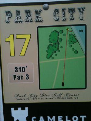 Veterans Memorial Park, Main course, Hole 17 Hole sign