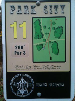 Veterans Memorial Park, Main course, Hole 11 Hole sign