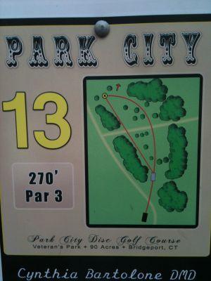 Veterans Memorial Park, Main course, Hole 13 Hole sign