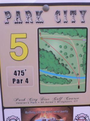 Veterans Memorial Park, Main course, Hole 5 Hole sign