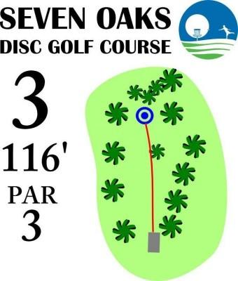 Seven Oaks Park, Main course, Hole 3 Hole sign