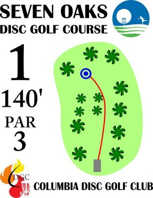 Seven Oaks Park, Main course, Hole 1 Hole sign
