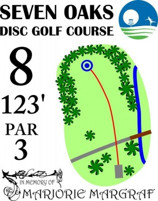 Seven Oaks Park, Main course, Hole 8 Hole sign
