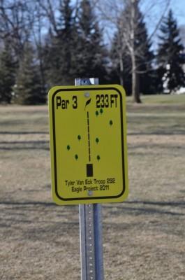 Heritage Park, Main course, Hole 8 Hole sign