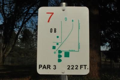 Yankton Community Fellowship, Main course, Hole 7 Hole sign