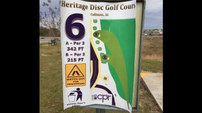 Heritage Park, Main course, Hole 6 Hole sign