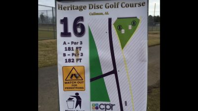 Heritage Park, Main course, Hole 16 Hole sign