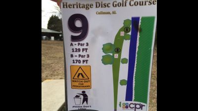 Heritage Park, Main course, Hole 9 Hole sign