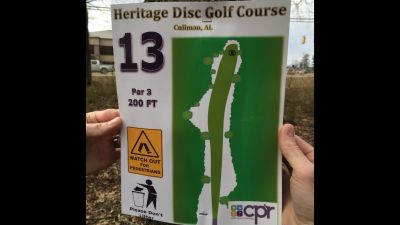 Heritage Park, Main course, Hole 13 Hole sign