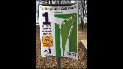 Heritage Park, Main course, Hole 1 Hole sign