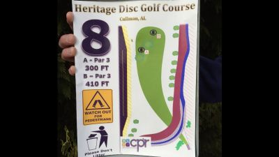 Heritage Park, Main course, Hole 8 Hole sign