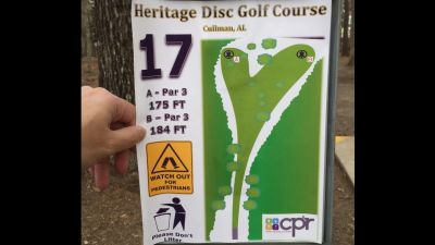 Heritage Park, Main course, Hole 17 Hole sign
