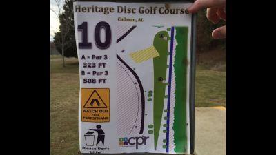 Heritage Park, Main course, Hole 10 Hole sign