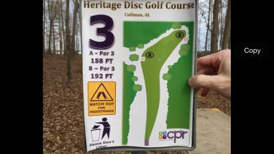 Heritage Park, Main course, Hole 3 Hole sign