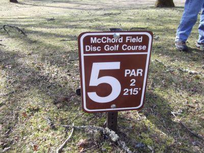 McChord Air Field DGC, Main course, Hole 5 Hole sign
