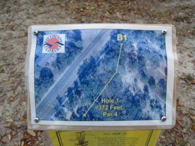 Under The Oaks, Main course, Hole 1 Hole sign