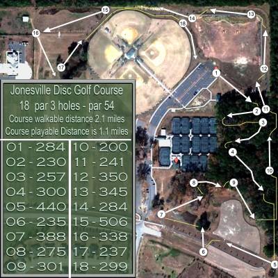 Jonesville DGC, Main course, Hole 1 Tee pad