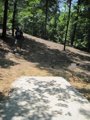 Inverness Disc Golf Park, Main course, Hole 2 Long tee pad