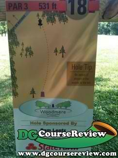 Woodmere DGC, Main course, Hole 18 Tee pad