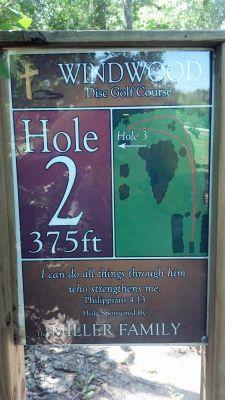 Windwood Presbyterian DGC, Main course, Hole 2 Hole sign