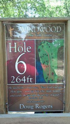 Windwood Presbyterian DGC, Main course, Hole 6 Hole sign