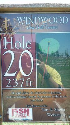 Windwood Presbyterian DGC, Main course, Hole 20 Hole sign