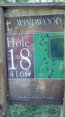 Windwood Presbyterian DGC, Main course, Hole 18 Hole sign