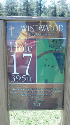 Windwood Presbyterian DGC, Main course, Hole 17 Hole sign