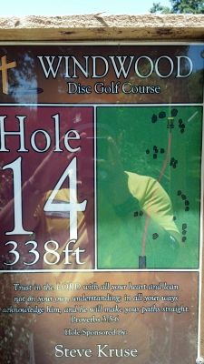 Windwood Presbyterian DGC, Main course, Hole 14 Hole sign