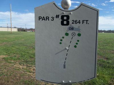 Graham Memorial Park, Main course, Hole 8 Hole sign