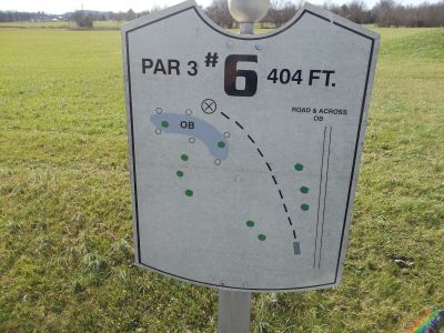 Graham Memorial Park, Main course, Hole 6 Hole sign