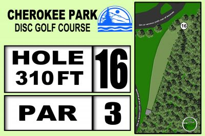 Cherokee Park, Main course, Hole 16 Hole sign